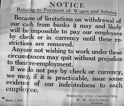 Notice of inability to pay cash